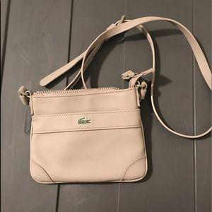 Lacoste light gray small zip top crossbody bag